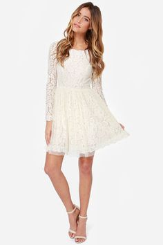 acc77cdf5266 Be-Gauze I Love You Cream Lace Dress. Winter Formal DressesFormal Dresses  For TeensGrad DressesJunior ...