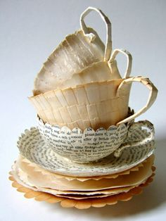 Teacups from recycled book pages. By Cecelia Levy, Sweden.