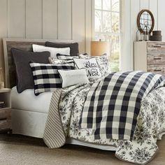 Farmhouse Bedding Sets, Farmhouse Master Bedroom, Country Bedding Sets, Rustic Bedding Sets, Western Bedding, Country Quilts, Plaid Bedroom, Lodge Bedroom, Fall Bedroom