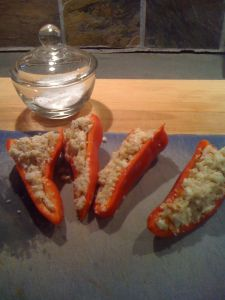 Stuffed peppers before cooking