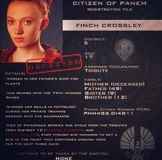 Citizen of Panem Registration File : Finch Crowley