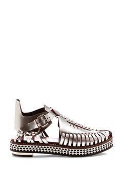 Silver Woven Flatform Shoe by Proenza Schouler for Preorder on Moda Operandi