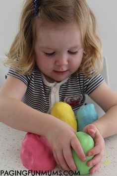 'Soft as a Cloud' Playdough…using only 2 ingredients (conditioner and cornstarch)