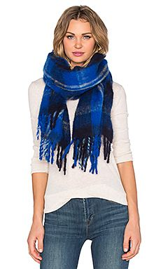 Marc by Marc Jacobs Blanket Plaid Scarf in True Blue Multi