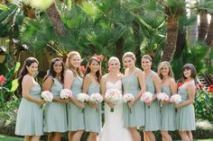 Mint Bridesmaids Dresses | Mint & Pink | Knee Length Dresses | Swann Soirees Real San Diego Wedding Planner | We Heart Photography