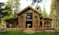 Barn conversion. I love the huge doors that open the house to the outside!