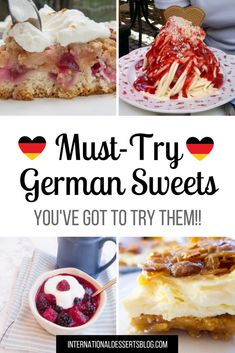 Check out these authentic and traditional German desserts! Try them while traveling in Germany or make these easy classic recipes at home! The best Kuchen (cake) ice cream pastries chocolate fruit gluten free and more! Slider Buns, Gourmet Recipes, Baking Recipes, Meal Recipes, Cookbook Recipes, Dinner Recipes, Chefs, Traditional German Desserts, Easy German Recipes