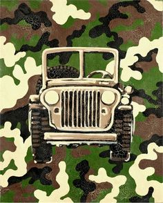 Camo Jeep Hand Painted Canvas
