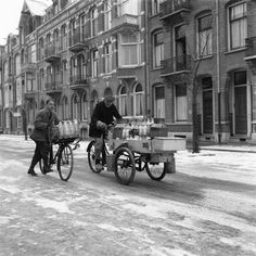 Melkverkoop in de winter, Amsterdam winter 1950