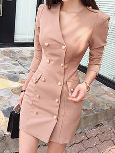 Wholesale New Arrival Double-breasted Blazer Fitted Dress Classy Dress, Classy Outfits, Chic Outfits, Dress Outfits, Fashion Outfits, Blazer Outfits, Fancy Dress, Casual Blazer, Dress Formal