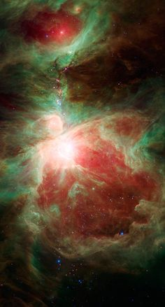 "Near the ""sword"" of the constellation Orion lies an active stellar nursery containing thousands of young stars and developing protostars. Stars more massive than our sun light the Orion nebula, seen here as the bright region near the center of the image"