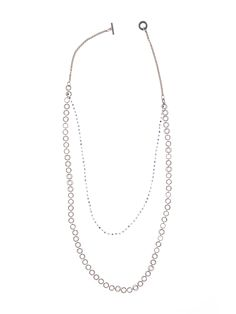 Steel #necklace in silver colour with brass elements and chain, string of iolite stones, brass toggle closure with engraved logo. -- http://monicatrevisi.com/en/product/maruc03/