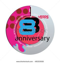 8 years anniversary logo with pink color disc. anniversary logo for birthday, wedding, celebration and party
