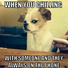 You are chilling w someone and they are always on the phone