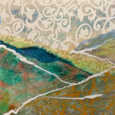 Torn Paper Landscape Collage, Mixed Media Collage, Abstract Landscape, Home Decor, 6x6 on paper