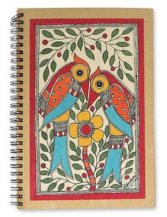 Madhubani Hand Painted Journal Handmade Paper 40 Pages - Flirting Peacocks | NOVICA