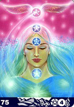 Four of Pentagrams - Aura Soma Tarot #b75