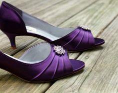 Purple Wedding Shoes low heel -- 1.75 inch heel