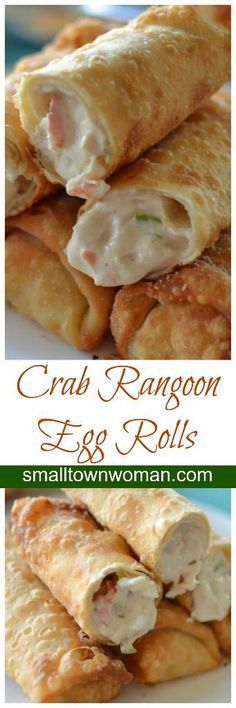 Crab Rangoon Egg Rolls are stuffed with crab, cream cheese, green onions and the perfect blend of spices mimicking the classic crab rangoons with an extra large helping of the best part. (Chinese Recipes With Shrimp) Seafood Dishes, Seafood Recipes, Appetizer Recipes, Cooking Recipes, Party Appetizers, Italian Appetizers, Cooking Food, Cooking Videos, Party Recipes