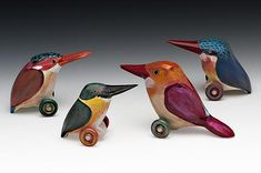 Kingfisher Collection by Dona Dalton. Made of poplar, painted with acrylic. Bandsaw carved. Signed on the bottom.