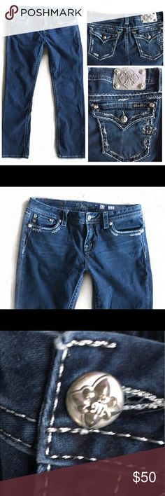 """MISS ME MID RISE EASY STRAIGHT JEANS 31 MISS ME SILVER STITCHED STRAIGHT LEG DENIM BLUE JEANS SZ 31    9"""" rise 31"""" inseam Miss Me Jeans Straight Leg"""