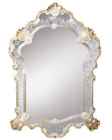 Venetian Mirror Framed In Hand Etched Glass With Gold Highlights