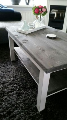 Lack coffee and side table with wood and light paint. ~ Peter van Rijn The post A Rustic LACK coffee table appeared first on IKEA Hackers.