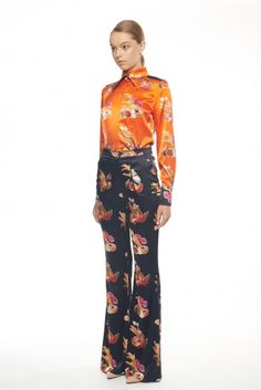 acded15adbf82 Beautiful Orange   Floral Patterned Silk Blouse Silk blouse FLOW COLLECTION