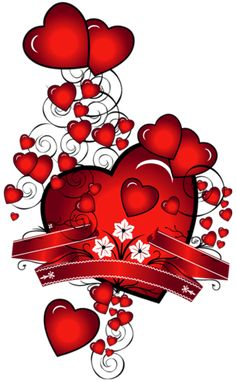 Hearts with Flowers Art PNG Picture.