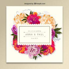 Invitación floral de la boda Vector Gratis