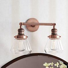 Copper Light Fixture, Vanity Light Fixtures, Copper Lighting, Bathroom Fixtures, Bathroom Vanity Lighting, Modern Bathroom Light Fixtures, Bathroom Hardware, Downstairs Bathroom, Diy Bathroom Remodel