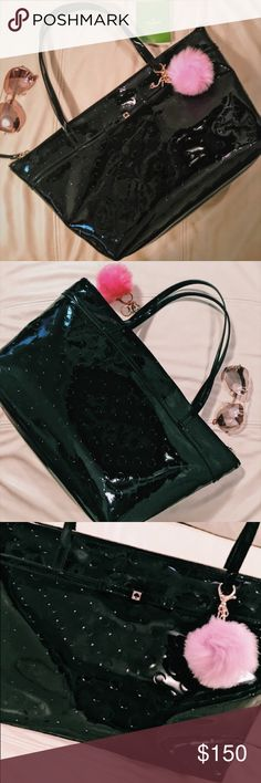 """NWOT Kate Spade Camilla Street Sophie Tote - Black Fashionable black patent Kate Spade Camellia Street Sophie is your perfect everyday tote! Gold tone hardware, dual handles, zippered top, zippered inner pocket and 2 open pockets. Adorned with the cutest embossed dots and iconic Kate Spade Bow. Large tote measures 18.5"""" L (across top) 12"""" L (bottom) x 10.5"""" H x 6.5"""" D, 8"""" handle drop. Brand new without tags condition. Pom Pom not included but available in other listing! Any questions just…"""
