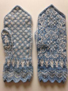 Ravelry: isorakazu's #27 Selbu Mitten Knitted Mittens Pattern, Fair Isle Knitting Patterns, Knit Mittens, Knitting Socks, Hand Knitting, Knitted Hats, Fingerless Mittens, Circular Knitting Needles, How To Purl Knit
