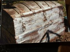 I found this camel back trunk at an estate sale for $75. Someone had partially spray painted it silver. Very disgusting ! But the tin was in great shape and I h…
