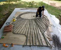Olga Ziemska, currently completing a large-scale  outdoor public sculpture commission for the city of Yellow Springs, Ohio.