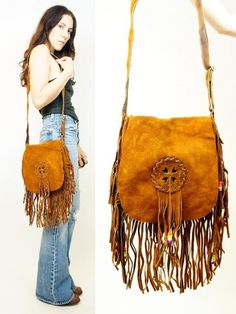 Vtg 70s SUEDE Leather FRINGE Woven SOUTHWESTERN Hippie FESTIVAL Boho PURSE Bag