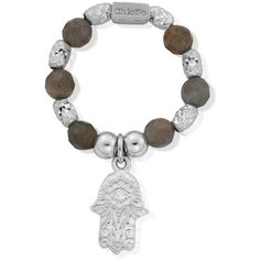 ChloBo Labradorite Sparkle Hamsa Hand Ring - Silver ($63) ❤ liked on Polyvore featuring jewelry, rings, silver, hamsa ring, silver charms jewelry, hamsa charm, silver rings and beading charms