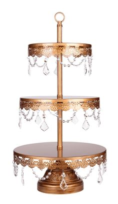 This 3-tier crystal-draped dessert stand is perfect for showcasing your favorite cupcakes and desserts at any party, event, or wedding.