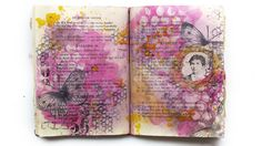Art journal inspiration. Art Basics - Soft Gel - resist effect on journal page by Finnabair