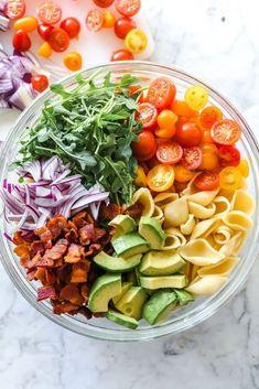 Blt Pasta Salads, Pasta Salad Recipes, Avocado Recipes, Summer Pasta Salad, Pasta Food, Shrimp Pasta, Healthy Salads, Healthy Eating, Healthy Recipes