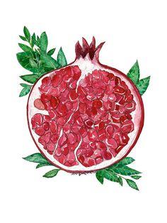 Pen And Watercolor, Watercolor Paintings, Ink Illustrations, Illustration Art, Food Design, Pomegranate Art, Pomegranate Tattoo, Art Walk, Jewish Art