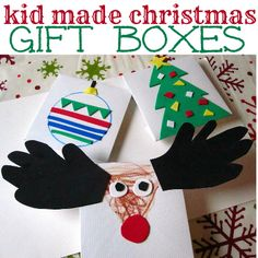 Such a cute idea. Decorate plain gift boxes for Christmas.