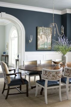 42 Unusual Traditional Dining Room Design Ideas That Looks Elegant / / 42 Unusual Traditional Dining Room Design Ideas That Looks ElegantUnusual Traditional Dining Room Design Ideas That Looks Elegant 354 Dining Room Wainscoting, Dining Room Walls, Dining Room Sets, Dining Room Design, Dining Chairs, Wainscoting Stairs, Blue Dining Rooms, Lounge Chairs, Formal Dining Rooms