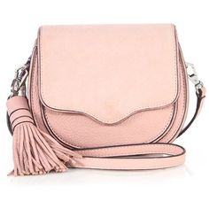 Rebecca Minkoff Mini Suki Leather Saddle Crossbody Bag ($185) ❤ liked on Polyvore featuring bags, handbags, shoulder bags, apparel & accessories, vintage pink, mini crossbody purse, leather purses, rebecca minkoff crossbody, leather cross body purse and leather handbags