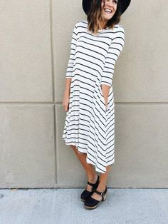 The Insider Stripe Dress Cute Fashion, Modest Fashion, Fashion Dresses, Women's Fashion, Sunday Outfits, Spring Outfits, Simple Dresses, Cute Dresses, Comfy Dresses
