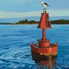 From our #CoastalArt Collection by Catherine Breer. #LandscapePainting #NewEnglandArt #Lighthouse #ArtPrint