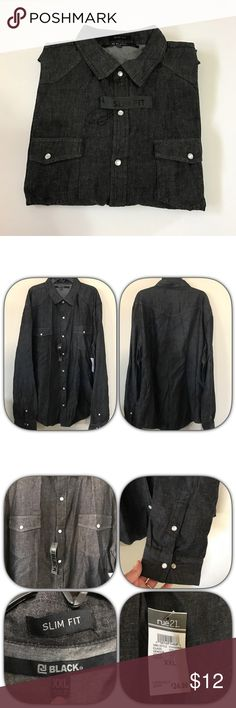 Rue21 long sleeve snap button down shirt NWT Rue21 long sleeve snap button down shirt. Has front pockets and side sleeve snaps as well. Slim fit. Rue21 Shirts