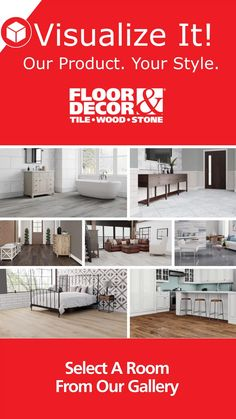 Like it in-store? Try it online! With our Visualize It! tool, you can pick the products you like most and see how they'll look in real spaces! Red Kitchen Decor, Interior Design Kitchen, Visualize It, Stone Tile Fireplace, Open Plan Kitchen Living Room, Diy Home Repair, Modern House Plans, Floor Decor, Home Remodeling