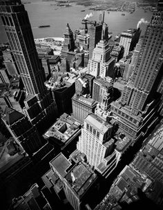 A birds-eye view of Lower Manhattan, 1945.  On the anniversary of the 9/11 attacks, LIFE pays tribute to New York with photos of Lower Manhattan, made in the decades before the Twin Towers defined the foot of the island.