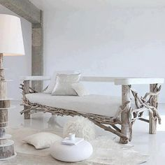 #driftwood sofa - and don't miss the lamp on the left!